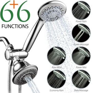 1. AquaStorm by HotelSpa 30-Setting Spiral Flo 3 Way Luxury Shower Head Combo